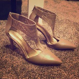 Brand new, never worn tan stiletto pumps